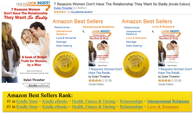 7 Reasons Women Don't Have The Relationship They Want So Badly - ebook hits #1 on Amazon!